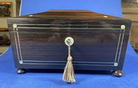 William IV Rosewood Tea Caddy with Mother of Pearl & Pewter Inlay (5 of 8)