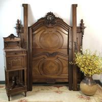 Antique French Stunning Huge Oak Bed Frame & Pot Cupboard (8 of 16)