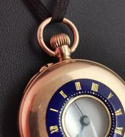 Antique 9ct Gold Half Hunter Pocket Watch, Blue Enamel (12 of 14)