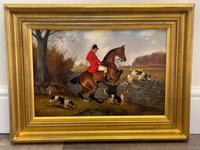 """Victorian Sporting Oil Painting """"Taking A Fence"""" Horse  & Rider With Scent Foxhounds Hunting By John Alfred Wheeler (2 of 59)"""