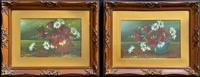 Attractive Matching Pair of 19th Century Oil Paintings Floral Still Life Study