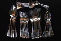 A Harlequin Set of George IV and Later Silver Fiddle Pattern Flatware