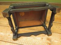 Small Vintage Wooden Black Painted Foot Stool with Brown Leather Top (16 of 17)
