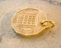 Vintage Pocket Watch Chain Fob 1967 Queen Elizabeth Threepenny Bit Old 3d Coin Fob (3 of 4)