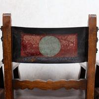 4 Dining Chairs Ships Nautical Chairs Oak Leather 19th Century (7 of 10)