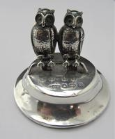 Edwardian, Novelty Silver Twin Owl Place Stands/ Menu Holders, Levi & Salaman, B'ham 1904 (5 of 8)