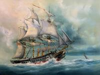 HMS Warrior Under Sail & Steam! - Original 20thc Seascape Oil On Canvas Painting (10 of 13)