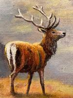 """Oil Painting Scottish Stags """"Denizens of the Highlands"""" Signed Wendy Reeves (8 of 45)"""