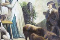 Pair of Early 19th Century Country Genre Scenes Oil on Canvas (5 of 21)