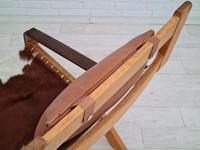 Scandinavian armchair, adjustable back, cowhide, 70s (17 of 20)