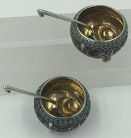Pair of Imperial Russian Silver Enamelled Cauldron Salts Gustav Klingert 1896 (3 of 10)