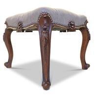 Walnut Upholstered Footstool (2 of 7)