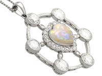 2.47ct Opal & 5.34ct Diamond, Platinum Pendant c.1940 (4 of 12)