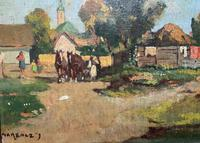 Josef Harencz Farmyard & Horses Landscape Oil Painting (5 of 10)