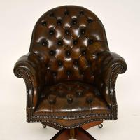 Antique Victorian Style Leather Swivel Desk Chair (4 of 12)