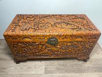 Chinese Camphor Wood Carved Birds & Flowers Chest Coffee Table (2 of 34)