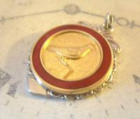 Vintage Pocket Watch Chain Fob 1940s Silver Chrome & Enamel Racing Pigeon Fob Nos (5 of 8)