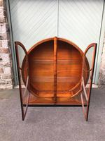 Art Deco Walnut & Ebonised Round Display Cabinet (8 of 11)