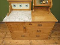 Antique Victorian Pine Washstand with Marble Top & Mirror, Adaptable Sink Unit (2 of 21)