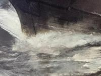 Huge 19th Century Seascape Oil Painting Sinking Ship Signalling Rescuers by Henry E Tozer (27 of 58)