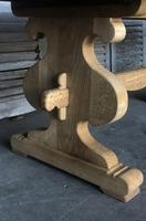 Large French Bleached Oak Trestle Farmhouse Dining Table (5 of 14)