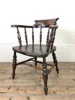 Antique Beech & Elm Smoker's Bow Armchair (6 of 9)