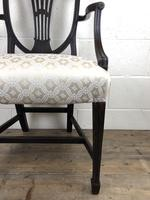Antique 19th Century Open Arm Carver Armchair with Fabric Seat (M-1196) (5 of 11)
