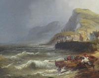Large Marine Coastal Scene by W. Stone c.1880 (2 of 6)