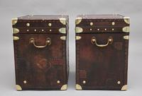 Pair of early 20th century leather bound army trunks (5 of 9)
