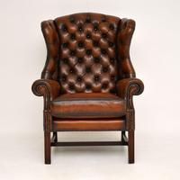 Antique Georgian  Style Leather Wing Back Armchair (6 of 9)