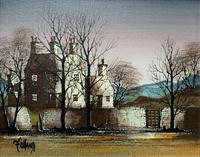 Ronald Folland (1932-1999) Original Signed Winter Village Landscape Oil Painting (2 of 12)