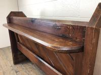 Antique Pitch Pine Church Pew with Enamel Number 28 (11 of 12)