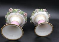 Pair of Antique French Porcelain Vases with Appliquéd Flowers (3 of 4)