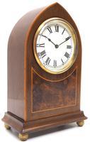 Impressive Mahogany Edwardian Lancet Clock Burr Walnut Inlay Timepiece Mantel Clock (2 of 8)