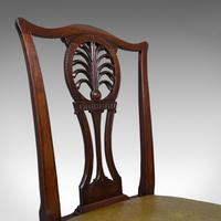 Antique, Set of 6, Dining Chairs, English, Mahogany, Leather, Seats, Victorian (7 of 12)