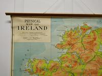 """Large University Chart """"Physical Map of Ireland"""" by Bacon (2 of 4)"""