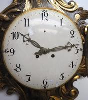 Impressive French Carved Cartel Wall Clock 8 Day Movement Scrolling leaf design 84cm High (4 of 13)