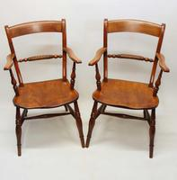 Pair of Victorian Rope Back Oxford Chairs in Elm & Beech (7 of 15)