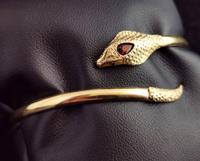 Vintage 9ct Gold Snake Bangle, Garnet (13 of 13)