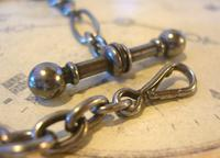Georgian Pocket Watch Chain 1830s Antique Steel Large Fancy Albert With T Bar (8 of 12)
