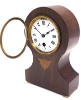 Fine Mahogany Edwardian Lancet Clock Burr Walnut Inlay Timepiece Mantel Clock (3 of 9)