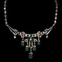 Antique Victorian Art Nouveau Green Paste Garland Necklace Silver c.1900 (8 of 8)