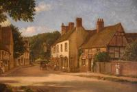 "Oil painting Pair by Alfred Kedington Morgan ""Village High Street"" (3 of 8)"