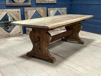 Larger French Bleached Oak Trestle Farmhouse Dining Table (17 of 21)