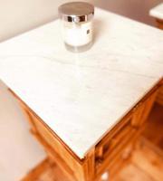 French Antique Oak Bedside Tables / Marble Bedside Cabinets / Nightstands (5 of 6)