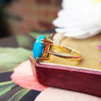 Vintage 18ct Yellow Gold & Turquoise Solitaire Ring (2 of 7)