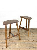 Pair of Rustic Wooden Cutler's Stools (2 of 10)