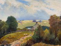 'Sheep In The Yorkshire Dales' - Original 1943 Vintage Landscape Oil Painting (3 of 12)