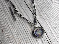 Antique Silver Albert Watch Chain and Enameled 1897 South African Shilling Fob in Silver Mount, 15 Inch (2 of 12)