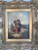 Antique oil painting study of peasant girls carrying sheaves of corn (8 of 10)